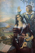 Pomare, Queen of Tahiti, the persecuted Christian surrounded by her family at the afflictive moment when the French forces were landing, detail of an aquatint engraving, 1845, by George Baxter, 1804-67, in the Musee de Tahiti et des Iles, or Te Fare Manaha, at Punaauia, on the island of Tahiti, in the Windward Islands, Society Islands, French Polynesia. Pomade is depicted as anglicised, wearing Western clothes and resembling a Madonna and child with her baby in her arms, to appeal to Victorians in Britain. The Museum of Tahiti and the Islands was opened in 1974 and displays collections of nature and anthropology, habitations and artefacts, social and religious life and the history of French Polynesia. Picture by Manuel Cohen