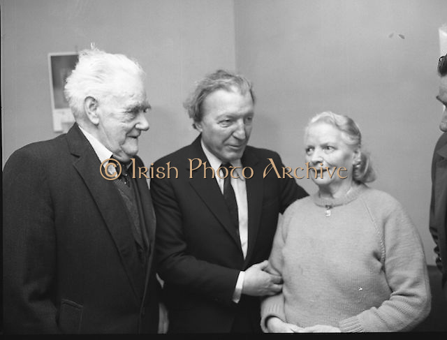 Image of Fianna Fáil leader Charles Haughey touring West Cork during his 1982 election campaign...04/02/1982.02/04/82.4th February 1982..Growing old gracefully:..At St Michael's Centre for Old Folk, Bandon, Charles Haughey is seen with John O'Driscoll and the centre's director, Dorothy Beamish.....