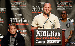 """June 3, 2009; New York, NY, USA; Fedor Emelianenko speaks at the press conference announcing his fight against Josh Barnett (l) at Affliction M-1 Global's """"Trilogy"""".  The two will meet on August 1, 2009 at the Honda Center in Anaheim, CA."""