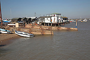 Small fishing and sailing hamlet of Felixstowe Ferry at the mouth of the River Deben, Suffolk, England