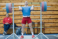 (R) Adrian Zielinski from Poland (Tarpan Mrocza; category 85 kg) and (L) his trainer coach Jerzy Sliwinski during training session two weeks before weightlifting IWF World Championships Wroclaw 2013 at the Olympic Sports Centre in Spala on October 08, 2013.<br /> <br /> Poland, Warsaw, September 16, 2013<br /> <br /> Picture also available in RAW (NEF) or TIFF format on special request.<br /> <br /> For editorial use only. Any commercial or promotional use requires permission.<br /> <br /> Mandatory credit:<br /> Photo by © Adam Nurkiewicz / Mediasport