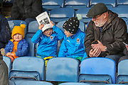AFC Wimbledon fans prior to kick off during the EFL Sky Bet League 1 match between Southend United and AFC Wimbledon at Roots Hall, Southend, England on 16 March 2019.