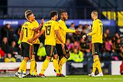 Michy Batshuayi (#23) of Belgium celebrates Belgium's third goal (0-3) with Yannick Carrasco (#11) of Belgium during the International Friendly match between Scotland and Belgium at Hampden Park, Glasgow, United Kingdom on 7 September 2018.