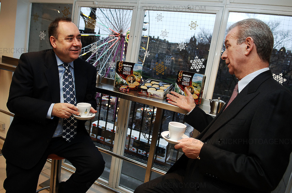 A special edition of Walkers Shortbread to promote Homecoming Scotland 2009 was launched at Valvona & Crolla in Jenners today by First Minister Alex Salmond and Managing Director of Walkers Jim Walker...Pic shows First Minister Alex Salmond (L) and Managing Director of Walkers Jim Walker launching  the new Walkers Homecoming Scotland 2009 shortbread.