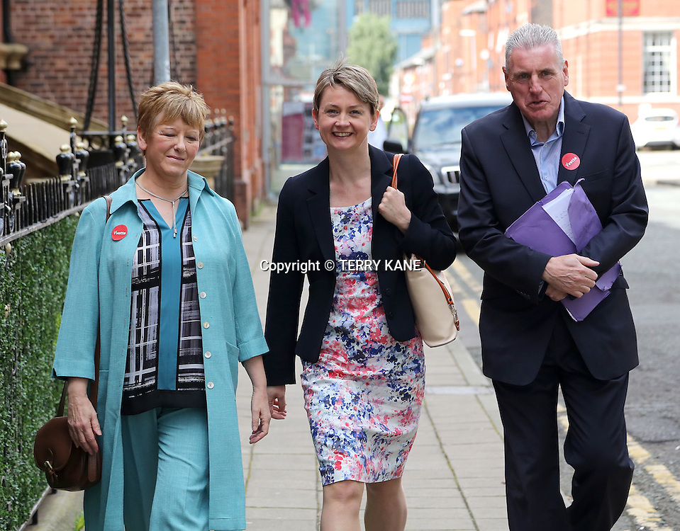 WARRINGTON, UK:<br /> Yvette Cooper MP arrives for the Labour Leadership Hustings at the Pyramid Parr Hall on Saturday morning, 25th July 2015.<br /> PHOTOGRAPH BY TERRY KANE / BARCROFT MEDIA LTD<br /> <br /> UK Office, London.<br /> T: +44 845 370 2233<br /> E: pictures@barcroftmedia.com<br /> W: www.barcroftmedia.com<br /> <br /> Australasian &amp; Pacific Rim Office, Melbourne.<br /> E: info@barcroftpacific.com<br /> T: +613 9510 3188 or +613 9510 0688<br /> W: www.barcroftpacific.com<br /> <br /> Indian Office, Delhi.<br /> T: +91 997 1133 889<br /> W: www.barcroftindia.com