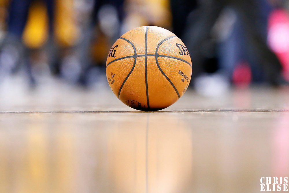 04 March 2017: A Spalding ball lays on the court during the Charlotte Hornets 112-102 victory over the Denver Nuggets, at the Pepsi Center, Denver, Colorado, USA.