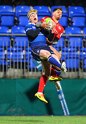 Jack Wallace of Bristol United and Tommy O'Brien of Leinster compete for aerial possession - Mandatory by-line: Ken Sutton/JMP - 15/12/2017 - RUGBY - Donnybrook Stadium - Dublin,  - Leinster 'A' v Bristol United -