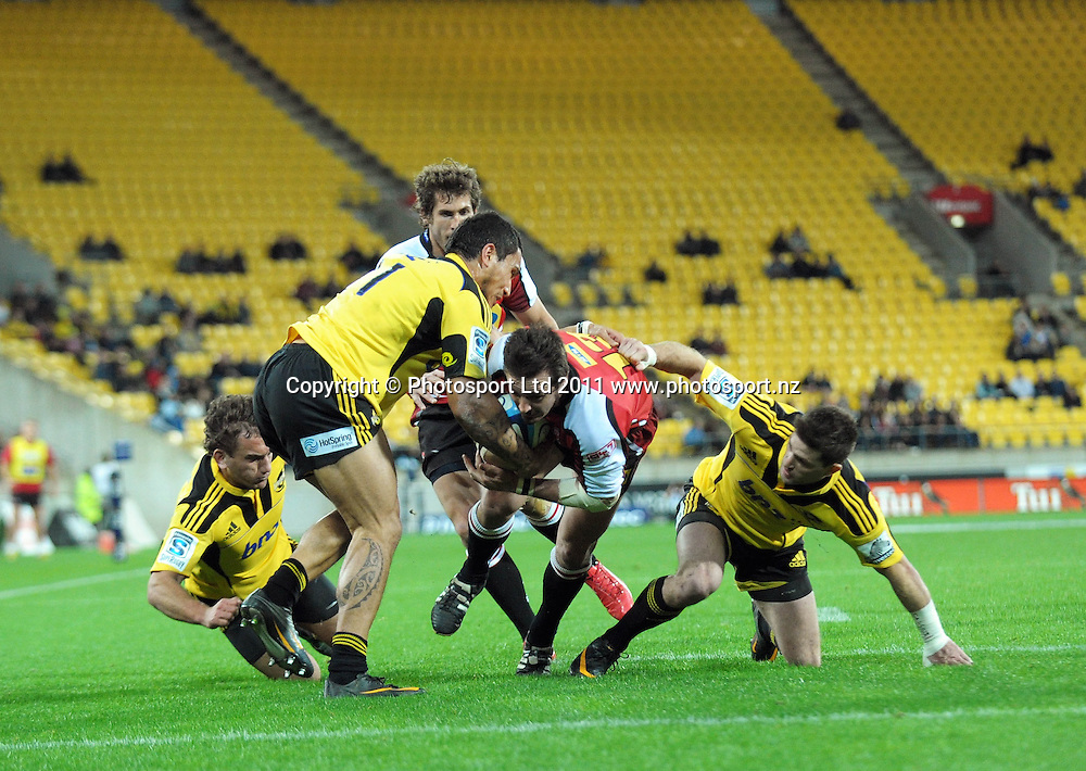 Lions captain Doppies la Grange heads for the tryline. Super 15 rugby match - Hurricanes v Lions at Westpac Stadium, Wellington, New Zealand on Saturday, 4 June 2011. Photo: Dave Lintott / photosport.co.nz
