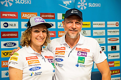 Ilka Stuhec and Stefan Abplanalp during presentation of new alpine ski team of Ilka Stuhec before new season 2019/20, on June 10, 2019 in Telekom Slovenije, Ljubljana, Slovenia. Photo by Vid Ponikvar / Sportida