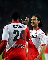 14-04-2010 VOETBAL: FC UTRECHT - FC GRONINGEN: UTRECHT<br /> Jacob Mulenga en Mark van der Maarel<br /> ©2010-WWW.FOTOHOOGENDOORN.NL