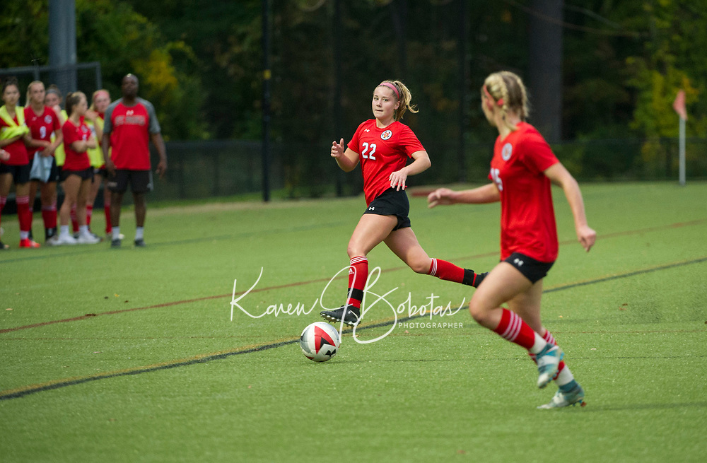 St Paul's School girls varsity soccer with Proctor Academy.  ©2019 Karen Bobotas Photographer