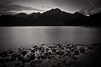While camping in Jasper my Dad and I got up to see the sunrise at Pyramid Lake. It was raining and the sunrise never really developed, but we found some beautiful locations with Pyramid Mountain reflecting on Pyramid Lake...©2010, Sean Phillips.http://www.RiverwoodPhotography.com