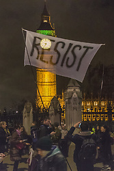 London, February 20th 2017. Anti-Trump, anti-racism and anti-Brexit protesters gather in Parliament Square for a rally as the Commons debates the proposed state visit of US President Donald Trump following a 1,8million-strong petition against his visit.