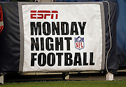 A banner for ESPN Monday Night Football hangs on a sideline wall at the Chicago Bears NFL regular season week 3 football game against the Green Bay Packers on Monday, September 27, 2010 in Chicago, Illinois. The Bears won the game 20-17. ©Paul Anthony Spinelli