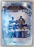 extreme deteriorating glass plate with group portrait France ca 1920s