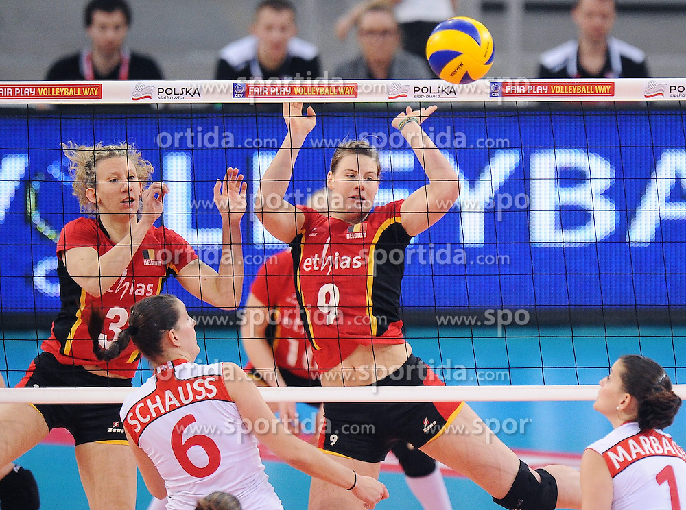 04.01.2014, Atlas Arena, Lotz, POL, FIVB, Damen WM Qualifikation, Belgien vs Schweiz, im Bild FRAUKE DIRICKX FREYA AELBRECHT // FRAUKE DIRICKX FREYA AELBRECHT during the ladies FIVB World Championship qualifying match between Belgium and Switzerland at the Atlas Arena in Lotz, Poland on 2014/01/05. EXPA Pictures &copy; 2014, PhotoCredit: EXPA/ Newspix/ Lukasz Laskowski<br /> <br /> *****ATTENTION - for AUT, SLO, CRO, SRB, BIH, MAZ, TUR, SUI, SWE only*****
