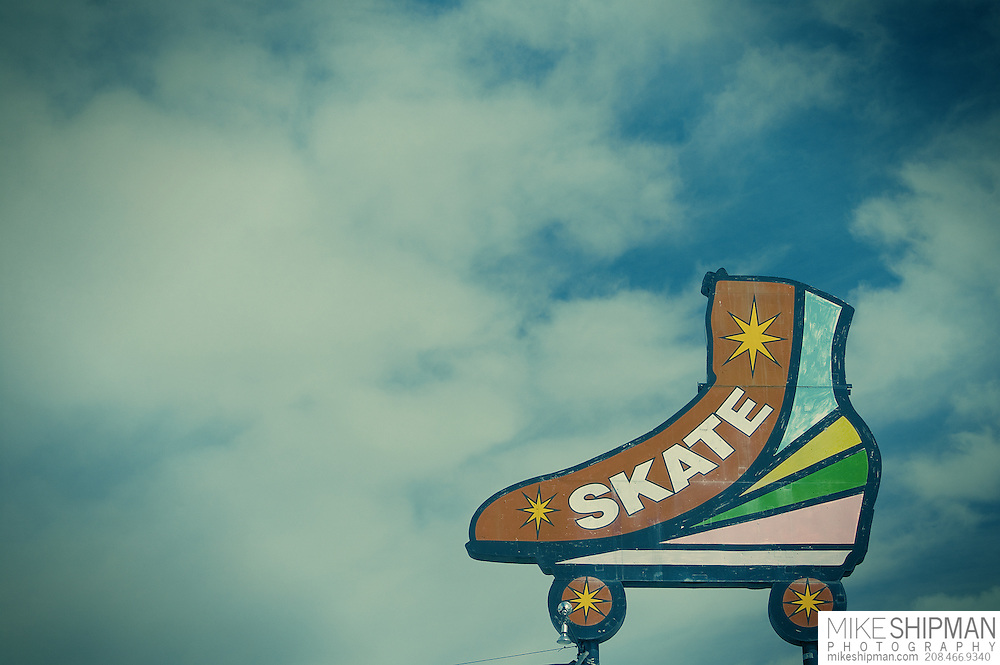 Skate sign over roller rink, Nampa, Idaho