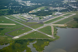Groton-New London Airport Aerial View. View North. Approaches, Runway 5 left, Runway 33 right.