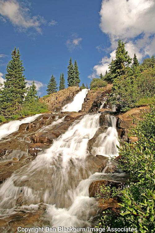Twin Falls in Yankee Boy Basin San Juan Mountains Colorado