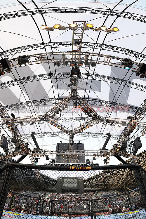 "ABU DHABI, UNITED ARAB EMIRATES, APRIL 10, 2010: A composite vertical panoramic view of the octagon and cage cover at ""UFC 112: Invincible"" inside Ferari World, Abu Dhabi on April 10, 2010"