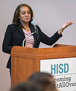 Rhonda Skillern-Jones comments during a dedication ceremony at Dogan Elementary School, September 29, 2014.