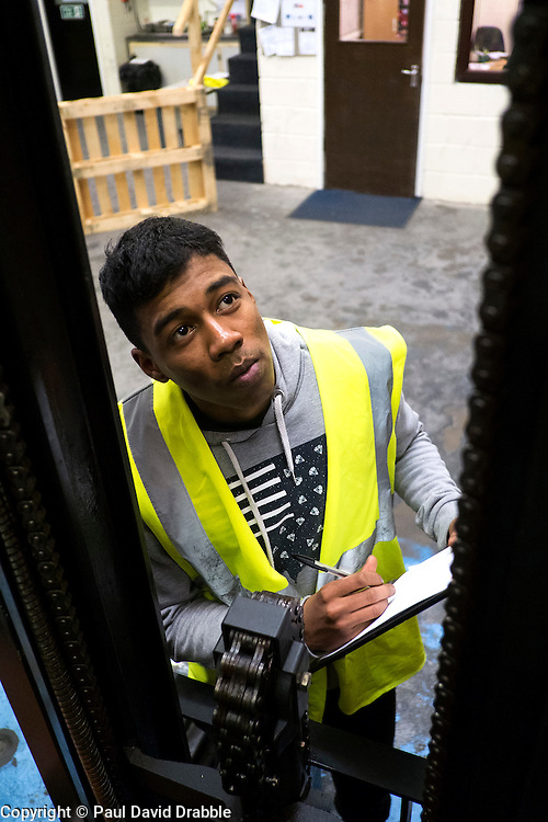 Guile Blake from Sheffield<br /> Working Links forlklift driving course at A&S Training, Leigh Street Industrial Estate, Sheffield, <br /> <br /> 19 March 2015<br /> Image © Paul David Drabble <br /> www.pauldaviddrabble.co.uk