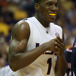 14 February 2009: LSU forward Tasmin Mitchell (1) reacts to a play during a 73-66 win by the LSU Tigers against SEC rival the Ole Miss Rebels at the Pete Maravich Assembly Center in Baton Rouge, LA.