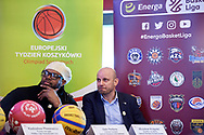 Warsaw, Poland - 2018 November 22: (L) Samuel Perkins (American retired professional NBA basketball player) and (R) Miroslaw Krogulec (Senior Manager Organizational Development and Sports Europe Eurasia Region Special Olympics) attend Special Olympics European Basketball Week 2018 Press Conference at Marriott Sport's Champions Bar on November 22, 2018 in Warsaw, Poland.<br /> <br /> Adam Nurkiewicz declares that he has no rights to the image of people at the photographs of his authorship.<br /> <br /> Picture also available in RAW (NEF) or TIFF format on special request.<br /> <br /> Any editorial, commercial or promotional use requires written permission from the author of image.<br /> <br /> Image can be used in the press when the method of use and the signature does not hurt people on the picture.<br /> <br /> Mandatory credit:<br /> Photo by © Adam Nurkiewicz