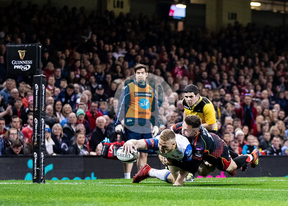 Ioan Nicholas of Scarlets scores his sides second try<br /> <br /> Photographer Simon King/Replay Images<br /> <br /> Guinness PRO14 Round 21 - Dragons v Scarlets - Saturday 27th April 2019 - Principality Stadium - Cardiff<br /> <br /> World Copyright © Replay Images . All rights reserved. info@replayimages.co.uk - http://replayimages.co.uk