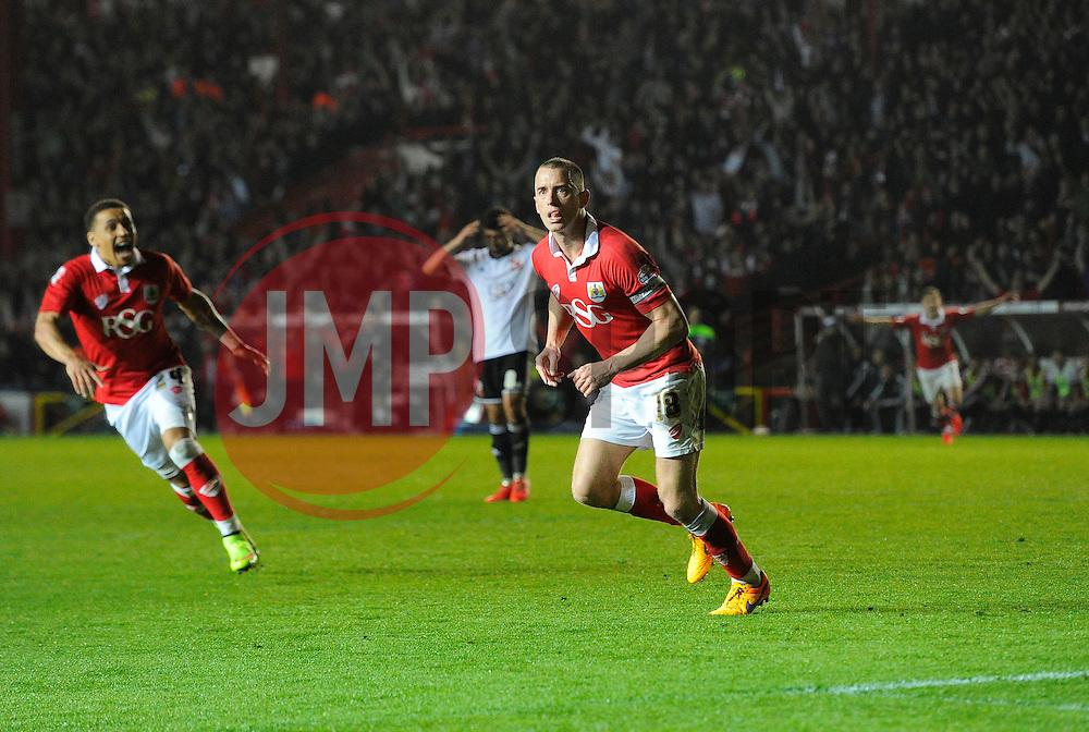 Bristol City's Aaron Wilbraham celebrates his goal  - Photo mandatory by-line: Joe Meredith/JMP - Mobile: 07966 386802 - 07/04/2015 - SPORT - Football - Bristol - Ashton Gate - Bristol City v Swindon Town - Sky Bet League One