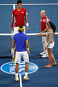 CINCINNATI, OH - AUGUST 22: Rafael Nadal of Spain and Novak Djokovic of Serbia look on during the official coin toss prior to their match during day six of the Western & Southern Financial Group Masters on August 22, 2009 at the Lindner Family Tennis Center in Cincinnati, Ohio. Djokovic defeated Nadal 6-1, 6-4. (Photo by Joe Robbins)