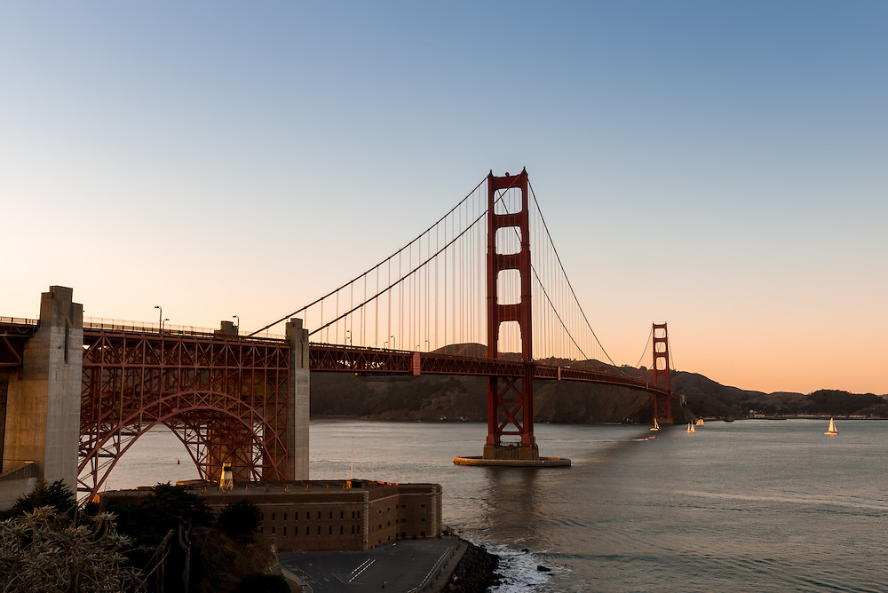 Golden Gate Bridge at evening