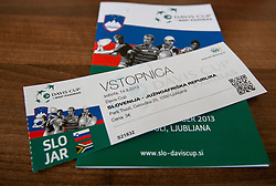 Ticket during Davis Cup Slovenia vs. South Africa on September 14, 2013 in Tivoli park, Ljubljana, Slovenia. (Photo by Vid Ponikvar / Sportida.com)