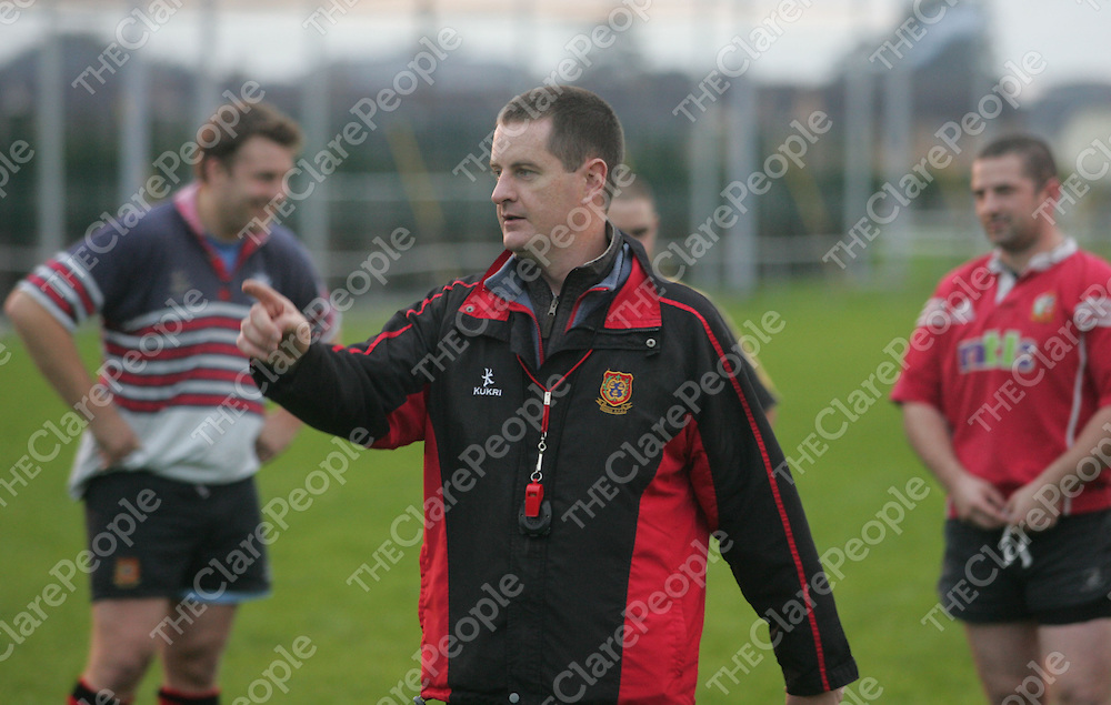 Richie Murphy, manager of the Ennis Rugby club at a pre-season training session at the Rugby Grounds. Pic Sean Curtin Press 22.