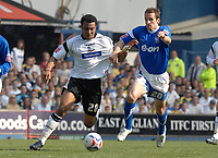 Photo: Ashley Pickering.<br /> Ipswich Town v Derby County. Coca Cola Championship. 14/04/2007.<br /> Giles Barnes of Derby (L) takes on David Wright of Ipswich