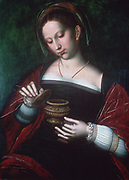 Mary Magdalene'. Oil on oak panel. Saint Ambrosius Benson (c1495-1550) Flemish Northern Renaissance painter.  Devoted follower of Jesus, here with pot of ointment which she poured over his head: Mark 13.3-9. Christian Saint