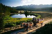 Idaho, Stanley, Sawtooth Mountains, Idaho Rocky mountain Ranch, wagon ride