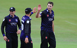 James Fuller of Gloucestershire celebrates with Jack Taylor of Gloucestershire after getting Will Smith of Hampshire out for LBW  - Photo mandatory by-line: Dougie Allward/JMP - Mobile: 07966 386802 - 14/07/2015 - SPORT - Cricket - Cheltenham - Cheltenham College - Natwest T20 Blast
