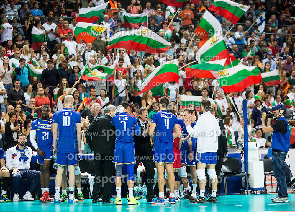 Players of France with Laurent Tillie, head coach of France during volleyball match between National teams of France and Bulgaria in 2nd Semifinal of 2015 CEV Volleyball European Championship - Men, on October 17, 2015 in Arena Armeec, Sofia, Bulgaria. Photo by Vid Ponikvar / Sportida