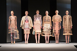 """© Licensed to London News Pictures. 02/06/2015. London, UK. Collection by Viline Dainovale, UEL, University of East London. Runway show """"Best of Graduate Fashion Week 2015"""". Graduate Fashion Week takes place from 30 May to 2 June 2015 at the Old Truman Brewery, Brick Lane. Photo credit : Bettina Strenske/LNP"""