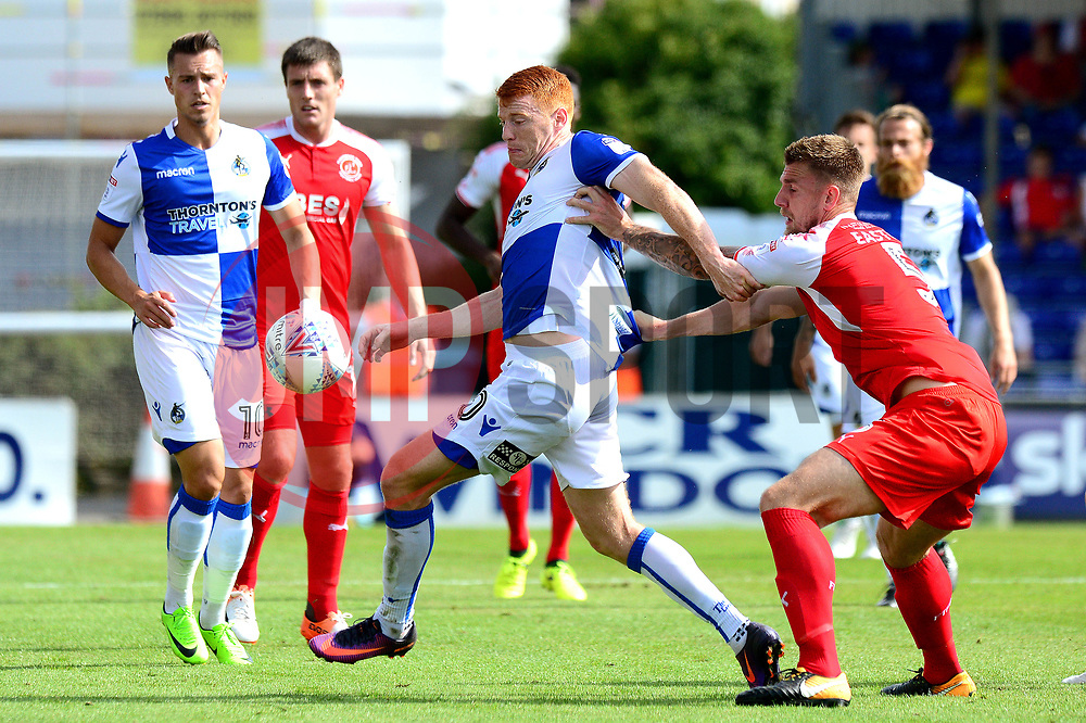Rory Gaffney of Bristol Rovers is challenged by Ashley Eastham of Fleetwood Town - Mandatory by-line: Dougie Allward/JMP - 26/08/2017 - FOOTBALL - Memorial Stadium - Bristol, England - Bristol Rovers v Fleetwood Town - Sky Bet League One