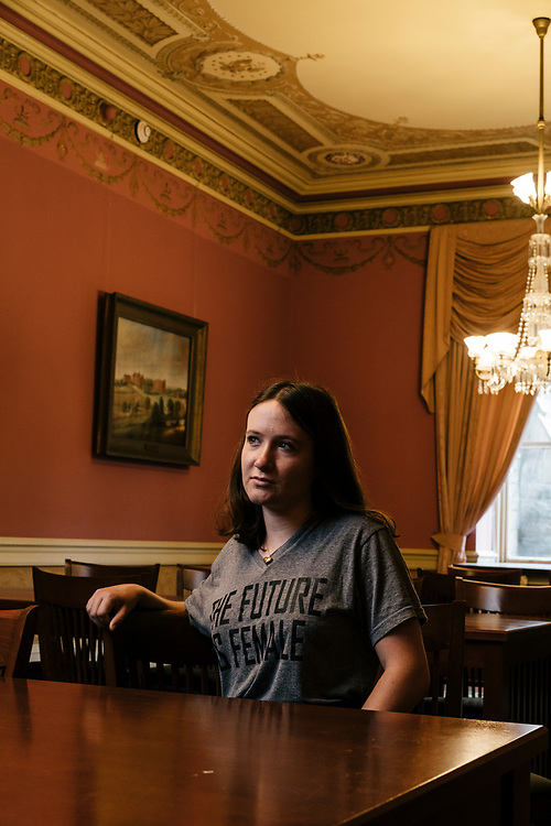 Meredith Forsyth, a junior at Georgetown Universtiy, in Healy Hall on the college campus in Washington D.C.