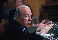 Secretary of State George Shultz testying at his confirmation hearing in February 1985<br /> Photo by Dennis Brack
