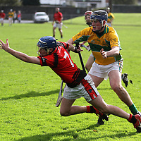 2/11/13 Whitegate's Christopher Jones grabs for possesion of the ball while under pressure from Feakle's Con Smyth when they met in the Intermediate Hurling Final in Sixmilebridge. Pic Tony Grehan / Press 22