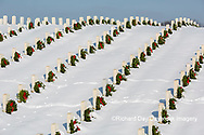 65095-03104 Wreaths on graves in winter Jefferson Barracks National Cemetery St. Louis,  MO