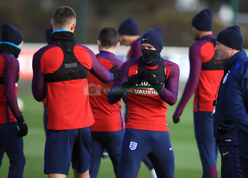 England's Jamie Vardy (right) and Gary Cahill during a training session at Enfield Training Ground, London.
