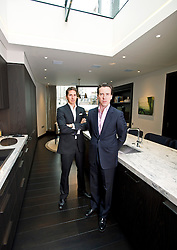 **Home supplement** © Ben Cawthra. 22/01/2013. Property developers from Fichatton, Alex Michelin and Andrew Dunn in the kitchen of the penthouse apartment at The Lansbury, on Basil Street, London. The Lansbury was recently refurbished in to 6 luxury apartments opposite Harrods in central London. Photo credit: Ben Cawthra.