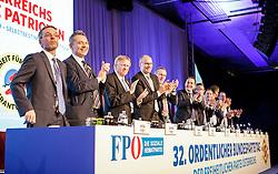 04.03.2017, AUT, FPÖ, 32. Ordentlicher Bundesparteitag, im Bild v.l.n.r. Herbert Kickl, Eduard Schock, Hilmar Kabas, Harald Stefan, Mario Kunasek, Heinz Christian Strache, Norbert Hofer, Manfred Haimbuchner, Johann Gudenus, Harals Vilimsky und Hans Weixelbaum //  at the 32nd Ordinary Party Convention of the Freiheitliche Partei Oesterreich (FPÖ) in Klagenfurt, Austria on 2017/03/04. EXPA Pictures © 2017, PhotoCredit: EXPA/ Wolgang Jannach