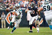 CHICAGO, IL - OCTOBER 22:  Cam Newton #1 of the Carolina Panthers runs the ball during a game against the Chicago Bears at Soldier Field on October 22, 2017 in Chicago, Illinois.  The Bears defeated the Panthers 17-3.  (Photo by Wesley Hitt/Getty Images) *** Local Caption *** Cam Newton