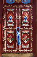Mongolia. Ulaanbaatar. decorated door, Gandan Buddhist Monastery Ulaan baatar